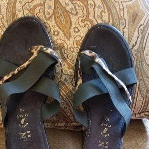 Black w/ animal print wedge sandals
